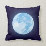Luna Llena azul Almohada