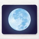Luna Llena azul Mousepad Alfombrillas De Raton
