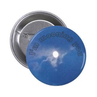 Luna Llena con el botón del mensaje de texto Pin Redondo De 2 Pulgadas