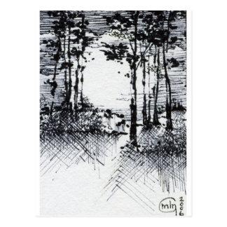 Luna Llena de B&W en el bosquejo del bosque Postal