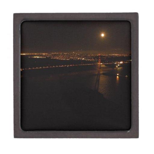 Luna Llena de Briddge del Golden Gate Cajas De Joyas De Calidad