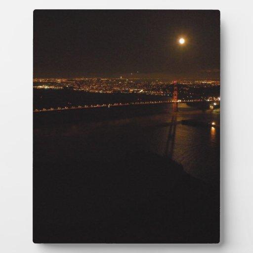 Luna Llena de Briddge del Golden Gate Placa De Madera