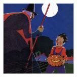 Luna Llena de bruja de Halloween del vintage del m Anuncio