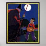 Luna Llena de bruja de Halloween del vintage del m Impresiones