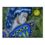 Luna Llena de hadas enmascarada azul Postal