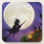 Luna Llena de la bruja de Halloween Posavaso