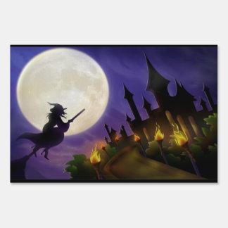 Luna Llena de la bruja de Halloween Señal