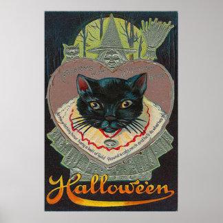 Luna Llena de la hora Witching de la bruja del gat Póster