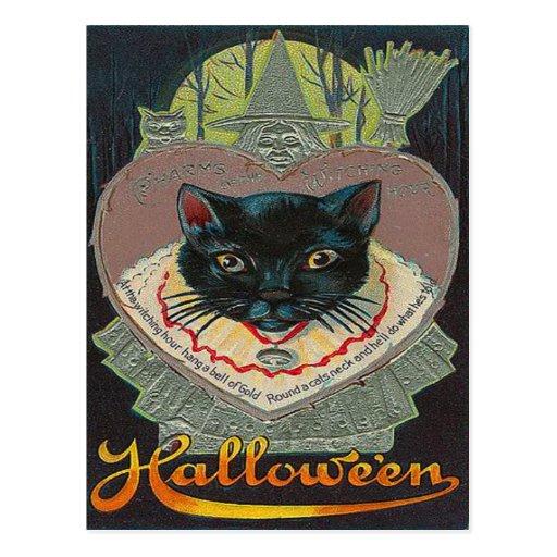 Luna Llena de la hora Witching de la bruja del gat Tarjetas Postales