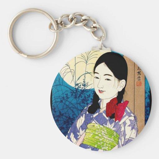 Luna Llena de Natori de la chica joven japonesa fr Llavero Personalizado