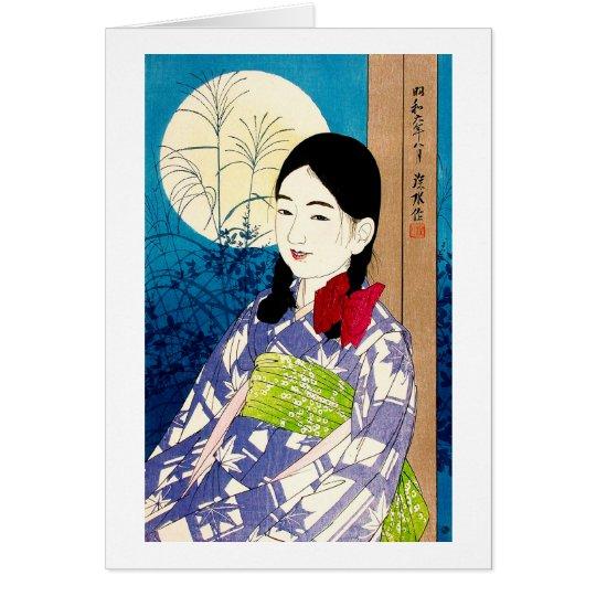 Luna Llena de Natori de la chica joven japonesa Tarjeta Pequeña