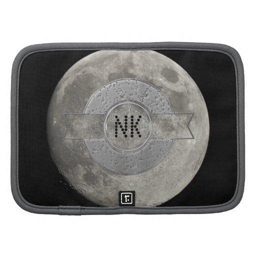Luna Llena de plata con el cráter metálico de la i Organizadores