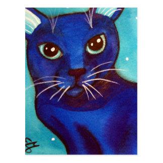 Luna Llena del gato azul Tarjeta Postal