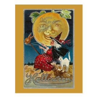 Luna Llena del gato de la bruja Tarjetas Postales