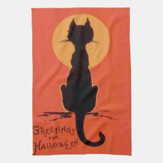 Luna Llena del gato negro amarillo-naranja Toalla