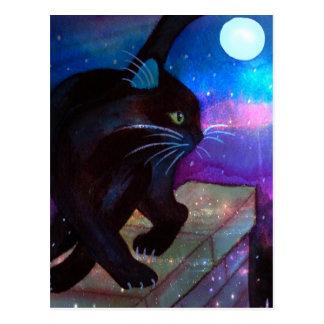 Luna Llena del gato negro Postal