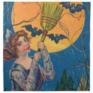 Luna Llena del palo de la escoba de bruja Servilletas Imprimidas