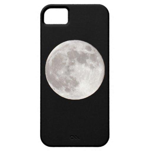 Luna Llena durante noche del cielo del negro iPhone 5 Funda