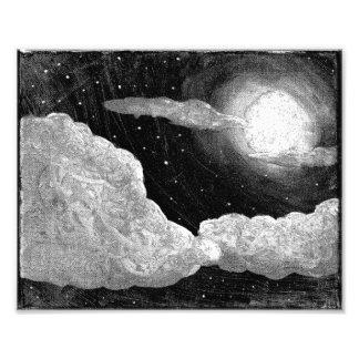 Luna Llena e impresión blancos y negros del arte Fotos