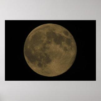 Luna Llena Elipse, nublado Póster