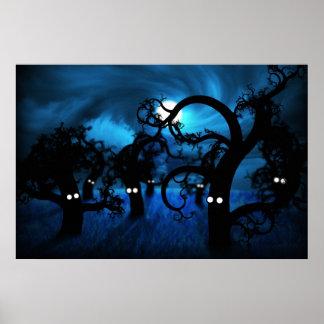 Luna Llena en el bosque de medianoche Póster