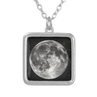 Luna Llena en el cielo Colgante Cuadrado