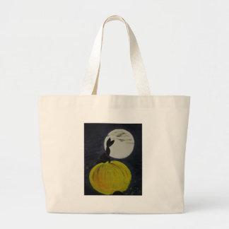 Luna Llena en el remiendo de la calabaza Bolsa Tela Grande