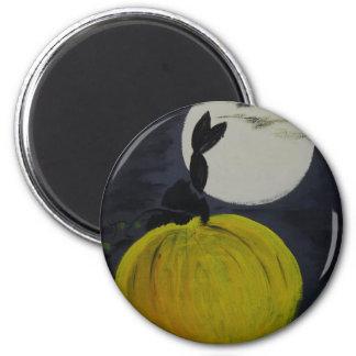 Luna Llena en el remiendo de la calabaza Imán Redondo 5 Cm