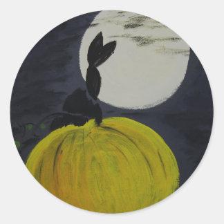 Luna Llena en el remiendo de la calabaza Pegatina Redonda