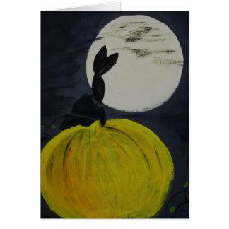Luna Llena en el remiendo de la calabaza Tarjeta De Felicitación