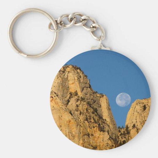 Luna Llena en la salida del sol de Zion Llavero Redondo Tipo Pin