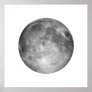 Luna Llena en poster grande del cielo blanco
