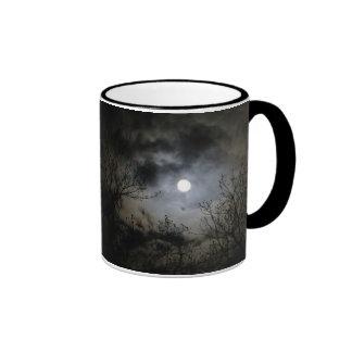 Luna Llena en una noche oscura mística Taza De Dos Colores