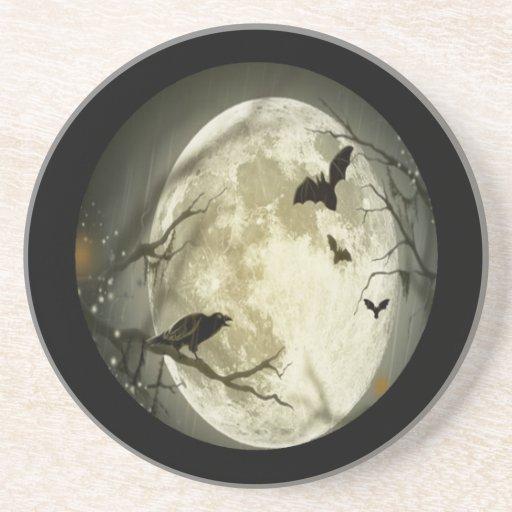 Luna Llena espeluznante con los pájaros Posavasos Manualidades