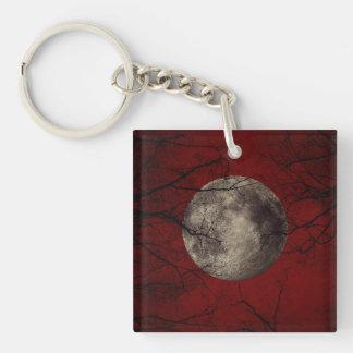 Luna Llena gótica con los árboles que frecuentan Llavero Cuadrado Acrílico A Una Cara