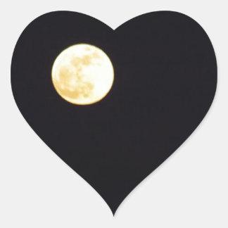 Luna Llena Pegatina En Forma De Corazón