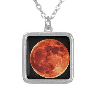 Luna Llena roja Colgante Cuadrado