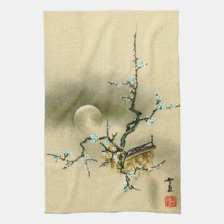 Luna Llena sobre la rama floreciente 1895 Toallas De Cocina