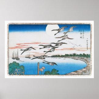 Luna Llena sobre Takanawa por Utagawa Hiroshige Poster