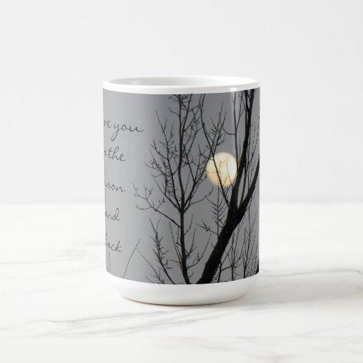 Luna Llena y árbol, te amo a la luna y a la parte  Tazas