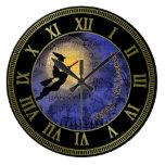 Luna Llena y bruja de Halloween Reloj