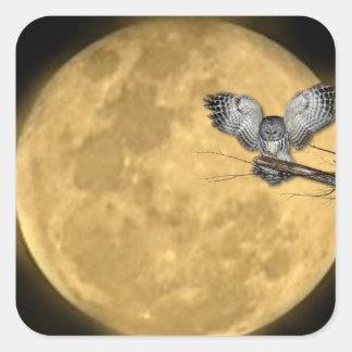 Luna Llena y búho Halloween Calcomanía Cuadradas Personalizadas