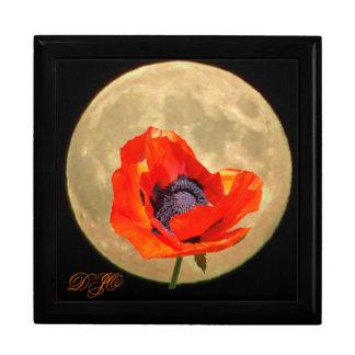 Luna Llena y flor roja Caja De Joyas