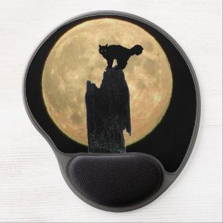 Luna Llena y gato de arqueamiento Alfombrilla De Raton Con Gel