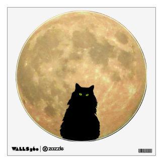 Luna Llena y gato negro que se sienta