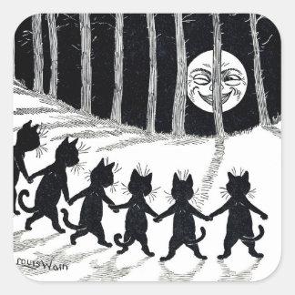 Luna Llena y gatos, Louis Wain Pegatina Cuadrada