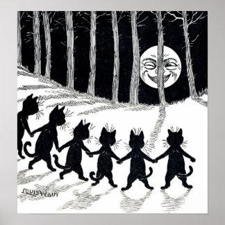 Luna Llena y gatos, Louis Wain Póster