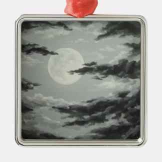 Luna Llena y ornamento nublado del cielo nocturno Adorno De Navidad