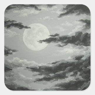 Luna Llena y pegatina nublado del cielo nocturno