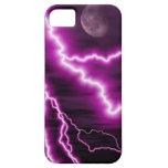 Luna Llena y relámpago púrpura iPhone 5 Case-Mate Protectores